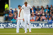 England & Nottinghamshire bowler Stuart Broad  playing football during day 2 of the first Investec Test Series 2016 match between England and Sri Lanka at Headingley Stadium, Headingley, United Kingdom on 20 May 2016. Photo by Simon Davies.