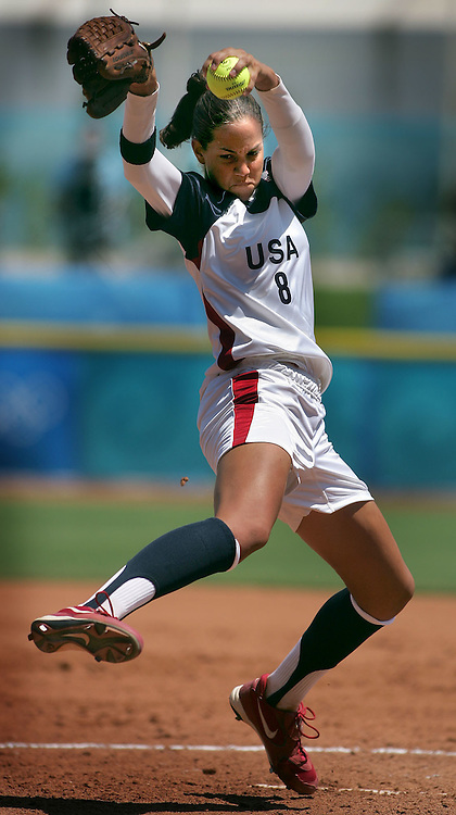 8/16/04 --Al Diaz/Miami Herald/KRT--Athens, Greece--USA  vs Japan Women's Softball Preliminary round at the Olympic Softball Stadium during the Athens 2004 Olympic Games. .USA's starting pitcher Catherine Osterman in action during USA's win over Japan in extra innings 3-0.