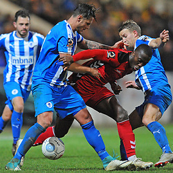 TELFORD COPYRIGHT MIKE SHERIDAN 22/12/2018 - Dan Udoh of AFC Telford battles for the ball in a crowded penalty area during the Vanarama Conference North fixture between Chester FC and AFC Telford United at the Swansway Deva Stadium, Chester.
