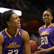 Jada Payne, (left), East Carolina, reacts after a foul on her shot which doesn't drop during the Temple Vs East Carolina Quarterfinal Basketball game during the American Women's College Basketball Championships 2015 at Mohegan Sun Arena, Uncasville, Connecticut, USA. 7th March 2015. Photo Tim Clayton