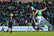 Anthony Stokes (#28) of Hibernian scores Hibernian's first goal (1-1) during the Ladbrokes Scottish Premiership match between Hibernian and Ross County at Easter Road, Edinburgh, Scotland on 23 December 2017. Photo by Craig Doyle.