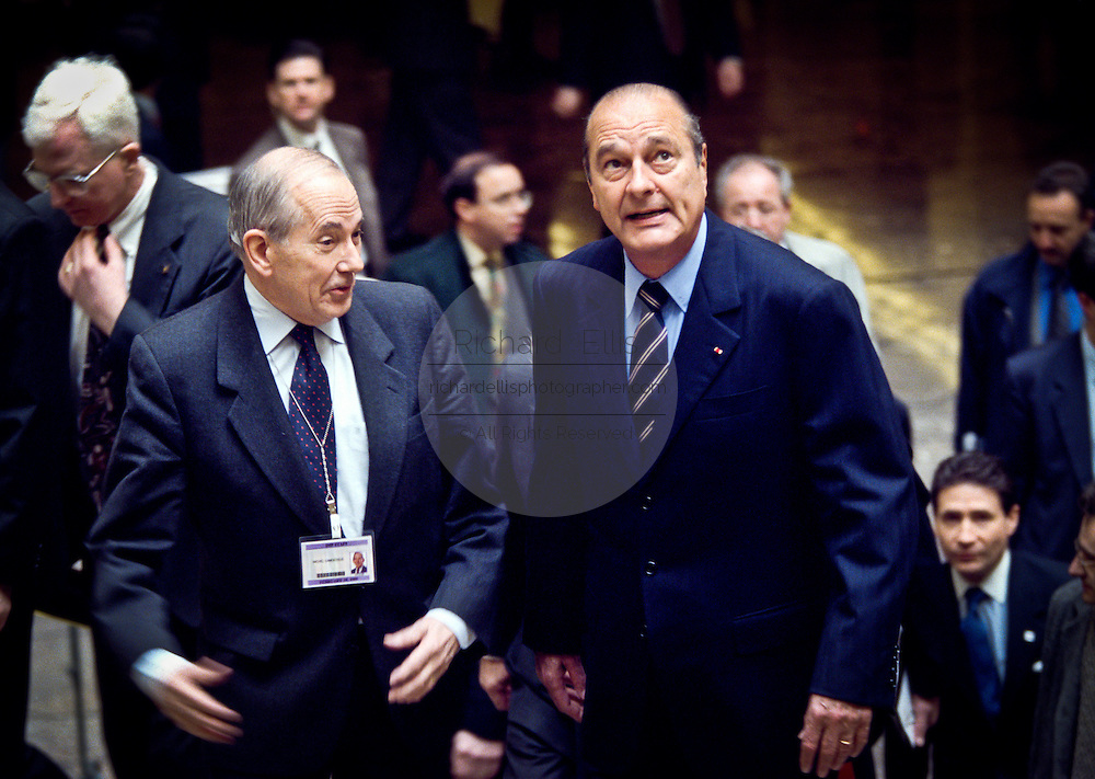 French President Jacques Chirac (R) with International Monetary Fund Managing Director Michel Camdessus at the IMF February 18, 1999 in Washington, DC. Chirac is scheduled for talks with President Clinton that will focus on security issues in Europe and reform of the global financial system.