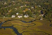 Aerial view of marsh along the Ashley River Charleston, South Carolina.