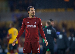 WOLVERHAMPTON, ENGLAND - Friday, December 21, 2018: Liverpool's goal-scorer Virgil van Dijk celebrates after the FA Premier League match between Wolverhampton Wanderers FC and Liverpool FC at Molineux Stadium. Liverpool won 2-0. (Pic by David Rawcliffe/Propaganda)