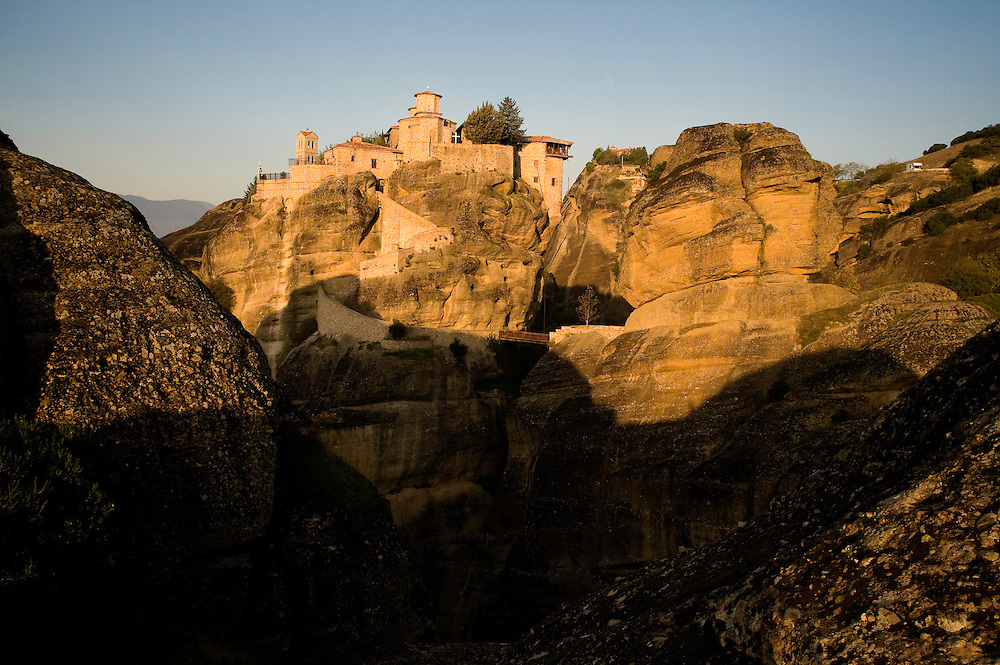 Greece, Meteora, Varlaam Monastery in sunrise