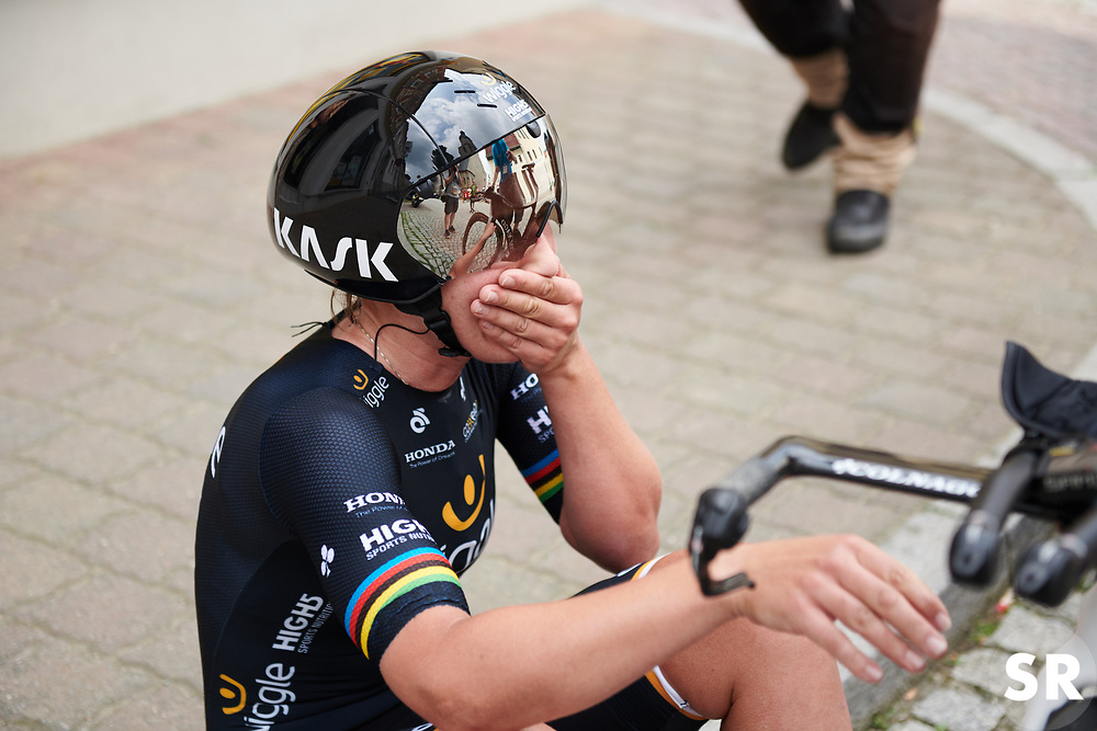 Lisa Brennauer (GER) starts to hear unconfirmed reports she may have done enough at Lotto Thuringen Ladies Tour 2018 - Stage 7, an 18.7 km time trial starting and finishing in Schmölln, Germany on June 3, 2018. Photo by Sean Robinson/velofocus.com