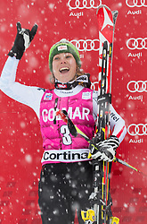 20.01.2013, Olympia delle Tofane, Cortina d Ampezzo, ITA, FIS Weltcup Ski Alpin, Super G, Damen, Podium, im Bild Nicole Schmidhofer (AUT, Platz 2) // 2nd place Nicole Schmidhofer of Austria celebrate on podium during ladies Super G of the FIS Ski Alpine World Cup at the Olympia delle Tofane course, Cortina d Ampezzo, Italy on 2013/01/20. EXPA Pictures © 2013, PhotoCredit: EXPA/ Johann Groder