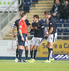 Falkirk's players not happy with ref Muir after the penalty decision. Falkirk 0 v 1 Hibernian, Scottish Championship game played 20/10/2015 at The Falkirk Stadium.