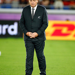 YOKOHAMA, JAPAN - SEPTEMBER 21: Steve Hansen All Blacks Head Coach of New Zealand (All Blacks) during the Rugby World Cup 2019 Pool B match between New Zealand and South Africa at International Stadium Yokohama on September 21, 2019 in Yokohama, Japan. (Photo by Steve Haag/Gallo Images)