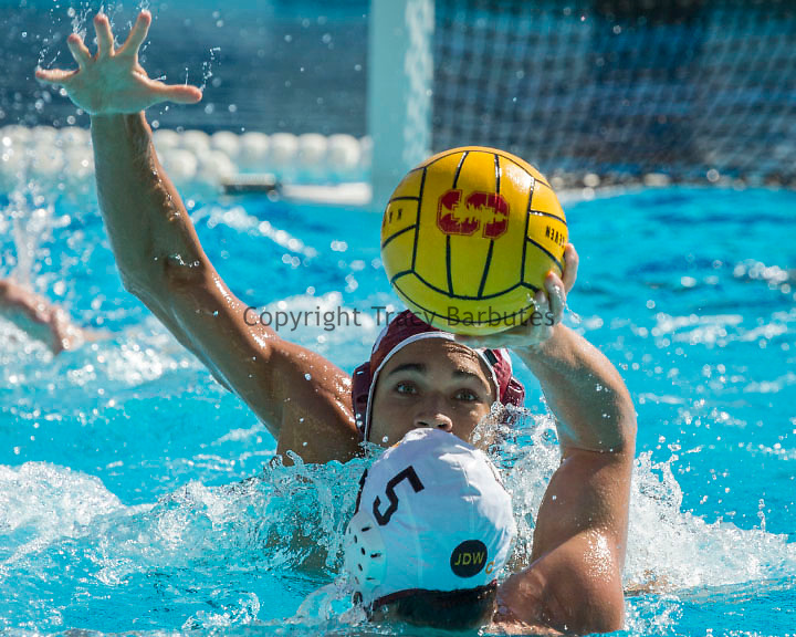 October 18, 2014<br /> Stanford driver, #24 BJ CHURNSIDE, focuses on the ball during the game against USC at Avery Aquatic Center on Saturday, October 18, 2014. Stanford won 11-10 in front of a large crowd, giving the team their <br /> second win in a row against the nation&rsquo;s top-ranked team after defeating then-No. 1 UCLA at the SoCal Tournament last Sunday (7-6). The win moved Stanford to 16-2 overall and 2-0 in MPSF action.