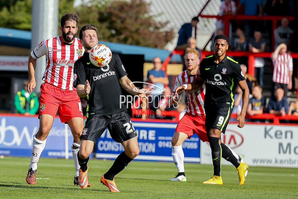 York City forward Reece Thompson during the Sky Bet League 2 match between Stevenage and York City at the Lamex Stadium, Stevenage, England on 12 September 2015. Photo by Simon Davies.