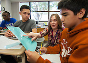 Kay Kubena discusses equations with students in her AP Math class at Bellaire High School, April 24, 2013.