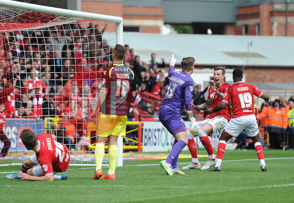 Bristol City's Aden Flint celebrates scoring a hat-trick - Photo mandatory by-line: Dougie Allward/JMP - Mobile: 07966 386802 - 03/05/2015 - SPORT - Football - Bristol - Ashton Gate - Bristol City v Walsall - Sky Bet League One