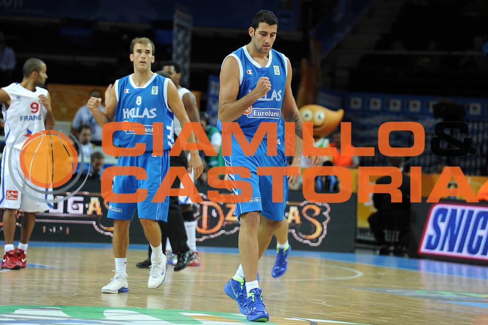 DESCRIZIONE : Kaunas Lithuania Lituania Eurobasket Men 2011 Quarter Final Round Francia Grecia France Greece<br /> GIOCATORE : Ioannis Bourousis <br /> CATEGORIA : esultanza<br /> SQUADRA : Grecia Greece<br /> EVENTO : Eurobasket Men 2011<br /> GARA : Francia Grecia France Greece<br /> DATA : 15/09/2011<br /> SPORT : Pallacanestro <br /> AUTORE : Agenzia Ciamillo-Castoria/GiulioCiamillo<br /> Galleria : Eurobasket Men 2011<br /> Fotonotizia : Kaunas Lithuania Lituania Eurobasket Men 2011 Quarter Final Round Francia Grecia France Greece<br /> Predefinita :