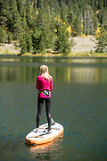 Haley and Jack paddleboarding at Officer's Gulch Pond, Colorado.