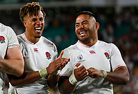 Rugby Union - 2019 Rugby World Cup - Quarter-Final: England vs. Australia<br /> <br /> Anthony Watson and anu Tuilagi of England celebrate at Oita Stadium, Oita Prefecture.<br /> <br /> COLORSPORT/LYNNE CAMERON