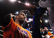 Jan. 7 2011; Phoenix, AZ, USA; New York Knicks forward Amar'e Stoudemire (1) signs autographs for fans prior to the game against the Phoenix Suns at the US Airways Center. Mandatory Credit: Jennifer Stewart-US PRESSWIRE.