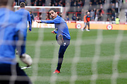 Ipswich Town midfielder Tristan Nydam (22) warms up before kick off during the EFL Sky Bet Championship match between Brentford and Ipswich Town at Griffin Park, London, England on 7 April 2018. Picture by Andy Walter.