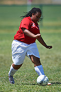 SO Denmark athlete controls the ball while football women match 7-a-side during fourth day of the Special Olympics World Games Los Angeles 2015 on July 28, 2015 in Los Angeles, USA.<br /> USA, Los Angeles, July 28, 2015<br /> <br /> Picture also available in RAW (NEF) or TIFF format on special request.<br /> <br /> For editorial use only. Any commercial or promotional use requires permission.<br /> <br /> Adam Nurkiewicz declares that he has no rights to the image of people at the photographs of his authorship.<br /> <br /> Mandatory credit:<br /> Photo by &copy; Adam Nurkiewicz / Mediasport