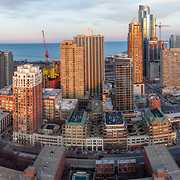 Aerial drone camera view of Chicago's Near South Side area from aboveRoosevelt Park.