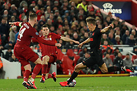 Football - 2019 / 2020 UEFA Champions League - Round of Sixteen, Second Leg: Liverpool (0) vs. Atletico Madrid (1)<br /> <br /> Marcos Llorente of Atletico Madrid shoots at goal, at Anfield.<br /> <br /> <br /> COLORSPORT/TERRY DONNELLY