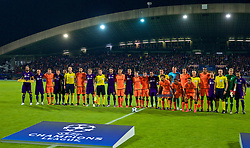 MARIBOR, SLOVENIA - Tuesday, October 17, 2017: Liverpool and NK Maribor players line-up before the UEFA Champions League Group E match between NK Maribor and Liverpool at the Stadion Ljudski vrt. (Pic by David Rawcliffe/Propaganda)