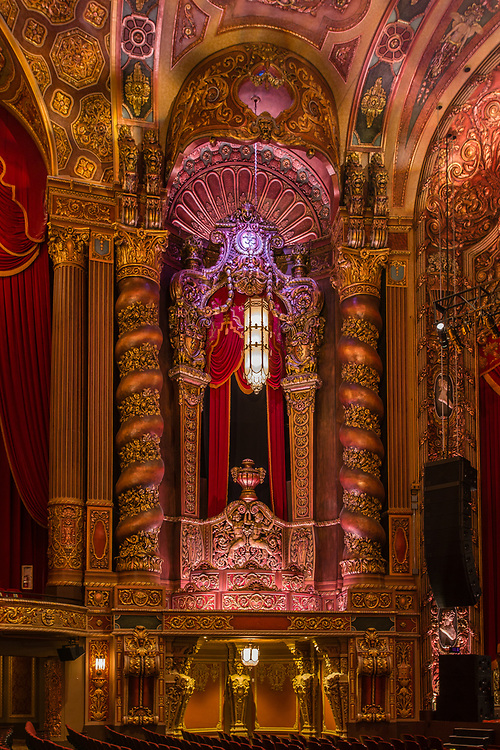 """Interior of the Kings Theatre, originally Loew's Kings Theatre, one of five original """"Loew's Wonder Theatres,"""" opened in 1929. Designed by Rapp & Rapp, with interior design by Harold W. Rambusch."""