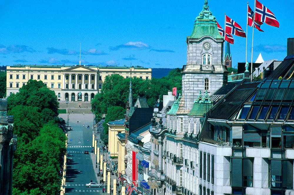 View down Karl Johans Gate (main shopping street) to the Royal Palace, Oslo, Norway