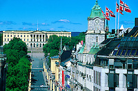 View down Karl Johans Gate (main shopping street) to the Royal Palace, Oslo, Norway
