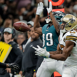 Nov 18, 2018; New Orleans, LA, USA; New Orleans Saints wide receiver Michael Thomas (13) catches a pass past Philadelphia Eagles cornerback Chandon Sullivan (39) during the second quarter at the Mercedes-Benz Superdome. Mandatory Credit: Derick E. Hingle-USA TODAY Sports