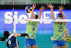 Ye Jin of China vs Iza Mlakar of Slovenia and Tina Grudina of Slovenia during the volleyball match between National team of Slovenia and China in Preliminary Round of Womens U23 World Championship 2017, on September 12, 2017 in SRC Stozice, Ljubljana, Slovenia. Photo by Morgan Kristan / Sportida