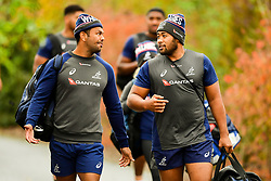 Kurtley Beale talks with Folau Fainga'a prior to the session starting - Ryan Hiscott/JMP - 08/11/2018 - RUGBY - Llanwern High School - Newport, Wales - Australia Rugby Training Session