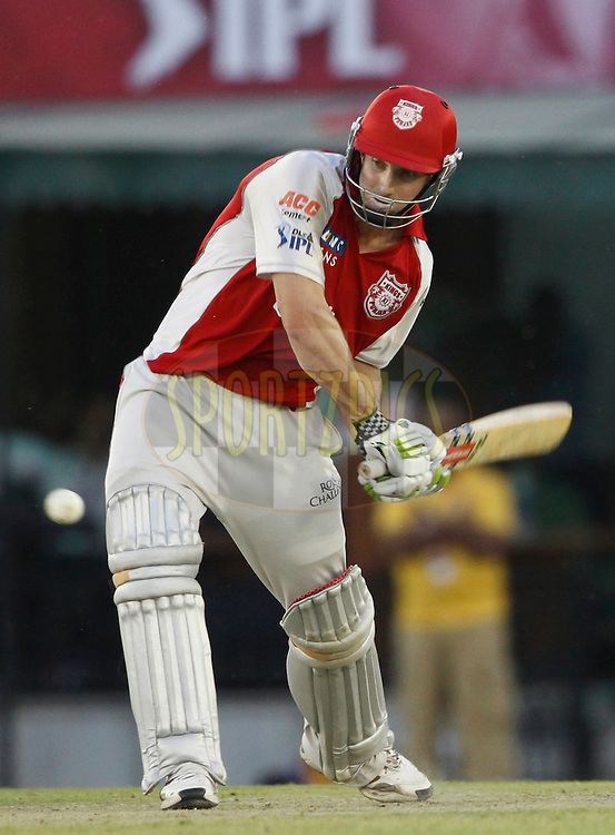 Kings XI Punjab David Hussey plays a shot during match 9 of the Indian Premier League ( IPL ) Season 4 between the Kings XI Punjab and the Chennai Super Kings held at the PCA stadium in Mohali, Chandigarh, India on the 13th April 2011..Photo by Pankaj Nangia/BCCI/SPORTZPICS