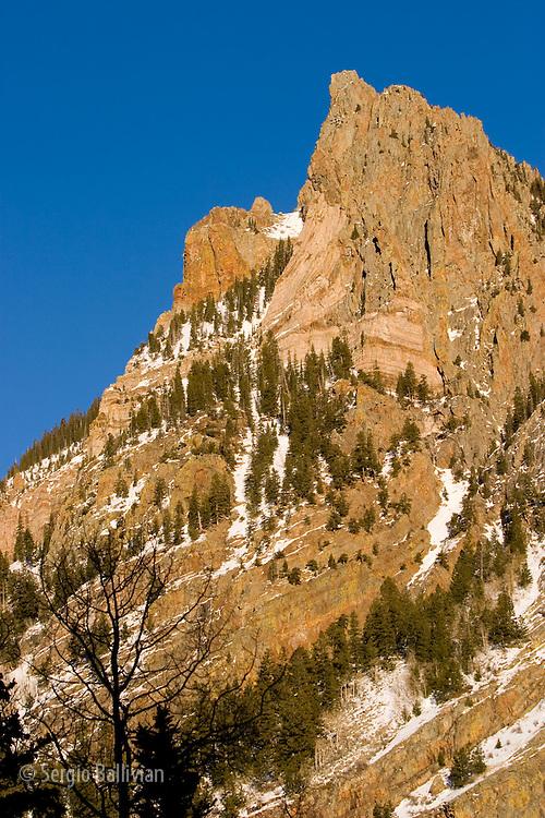 The rocky outcroppings of the San Juan Mountain range in the Rocky Mountains near Telluride, Colorado