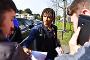 Nathan Ake (5) of AFC Bournemouth arrives at the Vitality Stadium before the Premier League match between Bournemouth and Manchester City at the Vitality Stadium, Bournemouth, England on 2 March 2019.