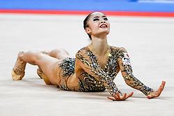 September 14, 2018 - Sofia, Bulgaria - Kaho Minagawa of Japan   during  Individual All-Around Final at the Arena Armeec in Sofia at the 36th FIG Rhythmic Gymnastics World Championships  on 14/9/2018. (Credit Image: © Ulrik Pedersen/NurPhoto/ZUMA Press)