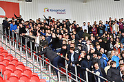 Scunthorpe fans taunt Doncaster fans  during the EFL Sky Bet League 1 match between Doncaster Rovers and Scunthorpe United at the Keepmoat Stadium, Doncaster, England on 17 September 2017. Photo by Ian Lyall.