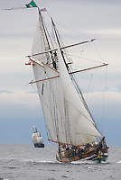 """The tall ship entry, """"Pacific Swift"""" in the foreground and the full-scale replica of the """"Nina"""", in the background under sail near Ogden Point.  Victoria, British Columbia, Canada."""