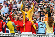 England fans dressed as 1966 footballers kit  parade around the Hollies stand with a fan dressed as the world cup during the International Test Match 2019 match between England and Australia at Edgbaston, Birmingham, United Kingdom on 3 August 2019.