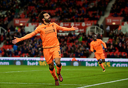 STOKE-ON-TRENT, ENGLAND - Wednesday, November 29, 2017: Liverpool's Mohamed Salah celebrates scoring the third goal during the FA Premier League match between Stoke City and Liverpool at the  Bet365 Stadium. (Pic by David Rawcliffe/Propaganda)