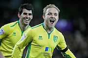 Norwich City forward Alex Pritchard celebrates after scoring the fith goal during the EFL Sky Bet Championship match between Norwich City and Brentford at Carrow Road, Norwich, England on 3 December 2016. Photo by Nigel Cole.