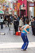 Myeong-dong shopping district. Fashion photo shooting.