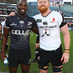 DURBAN, SOUTH AFRICA - MARCH 10: Lwazi Mvovo of the Cell C Sharks with Edward Quirk of the HITO-Communications Sunwolves during the Super Rugby match between Cell C Sharks and Sunwolves at Jonsson Kings Park Stadium on March 10, 2018 in Durban, South Africa. (Photo by Steve Haag/Gallo Images)