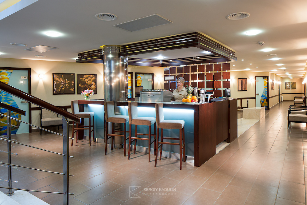 Interior view of the Fresh Bar in the Spa area of Mirotel Resort & Spa hotel. Mirotel is 5* resort located in the heart of Truskavets, in western Ukraine.