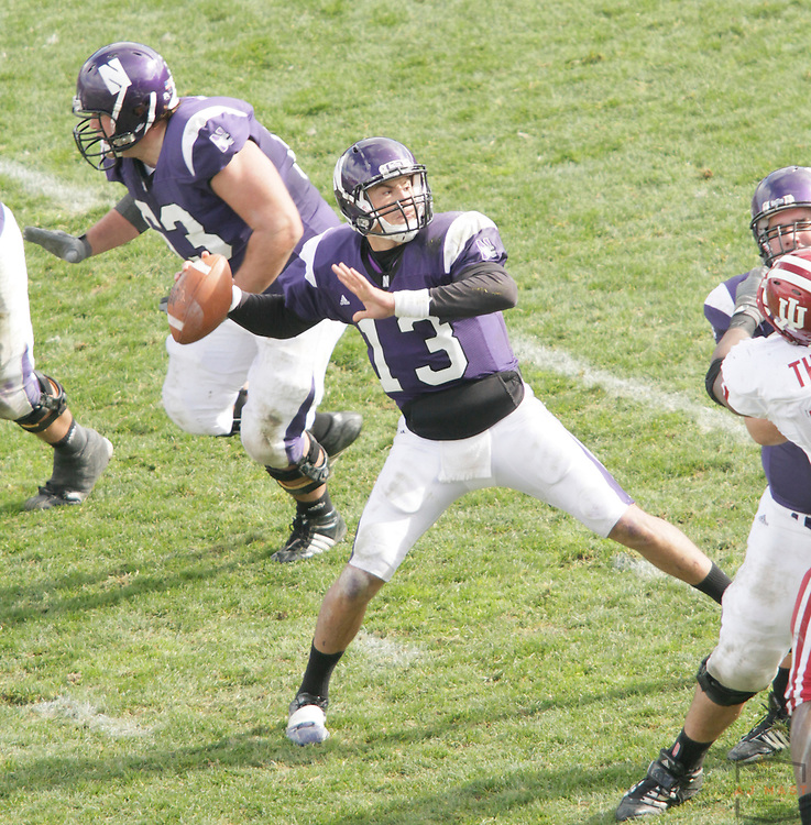 24 October 2009: Northwestern quarterback Mike Kafka (13) as the Northwestern Wildcats played the Indiana Hoosiers in a college football game in Evanston, Ill.