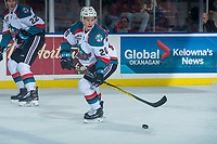 KELOWNA, CANADA - FEBRUARY 7: Conner Bruggen-Cate #20 of the Kelowna Rockets skates with the puck during second period against the Vancouver Giants  on February 7, 2018 at Prospera Place in Kelowna, British Columbia, Canada.  (Photo by Marissa Baecker/Shoot the Breeze)  *** Local Caption ***