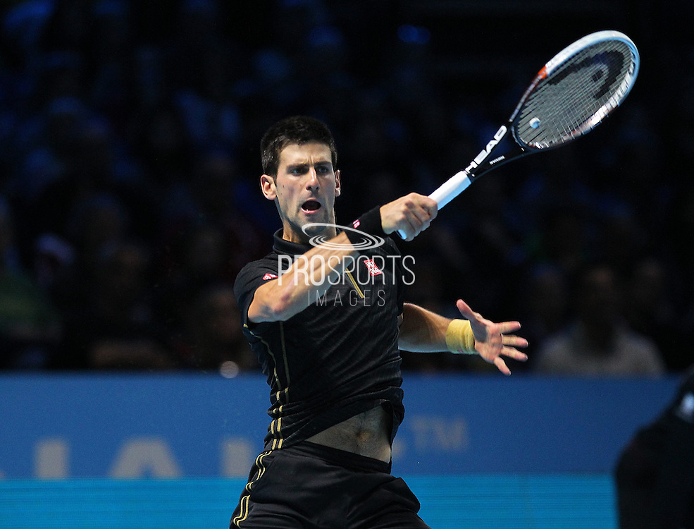 Serbia's Novak Djokovic during the Semi Final of Barclays ATP World Tour 2014 between Serbia's Novak Djokovic and Japan's Kei Nishikori, O2 Arena, London, United Kingdom on 15th November 2014 © Pro Sports Images