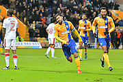 Mansfield Town forward Patrick Hoban (9)  celebrates scores a goal 1-0 during the EFL Sky Bet League 2 match between Mansfield Town and Crawley Town at the One Call Stadium, Mansfield, England on 19 November 2016. Photo by Simon Trafford.