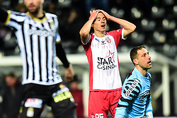 January 19, 2018 - Charleroi, Belgique - CHARLEROI, BELGIUM - JANUARY 19 :  Dorin Rotariu midfielder of Royal Excel Mouscron looks dejected after missing an opportunity during the Jupiler Pro League match between Royal Charleroi Sporting Club Royal Exclesior Mouscron on January 19, 2018 in Charleroi, Belgium, (Credit Image: © Panoramic via ZUMA Press)