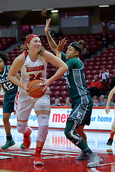 10 December 2017: Megan Talbot looks for the hoop defended by Emoni Jackson during an College Women's Basketball game between Illinois State University Redbirds and the Eagles of Eastern Michigan at Redbird Arena in Normal Illinois.